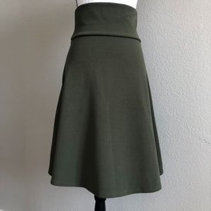 LuLaRoe Swing Skirt Olive Green High Waist Women S